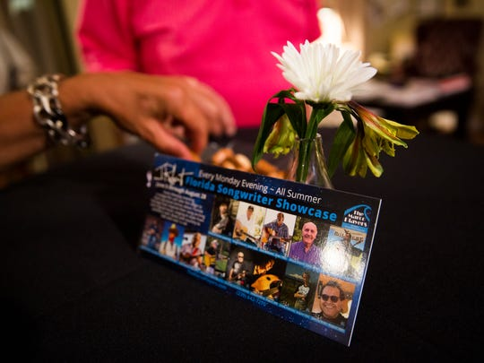 Guests socialize during a break in the concert on Monday, June 5, 2017 at the Marco Players on Marco Island during the Florida Songwriters Showcase. The showcase will be a summer-long concert series.