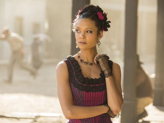 "This image released by HBO shows Thandie Newton in a scene from, ""Westworld."" Newton was nominated for an Emmy Award for outstanding supporting actress in a drama series on Thursday, July 13, 2017. The Emmy Awards ceremony, airing Sept. 17 on CBS, will be hosted by Stephen Colbert. (John P. Johnson/HBO via AP)"