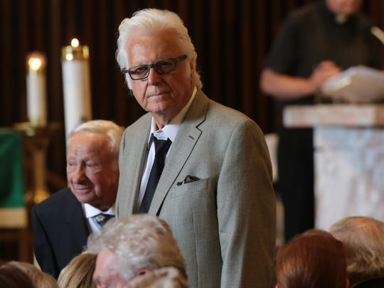 Jack Jones attends the funeral of Barbara Sinatra in Palm Desert, Calif., Tuesday, August 1, 2017.