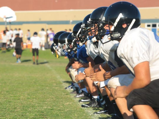Cathedral City's football team practices for their