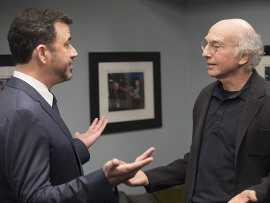 "Larry David confronts Jimmy Kimmel after Kimmel ""foists"""