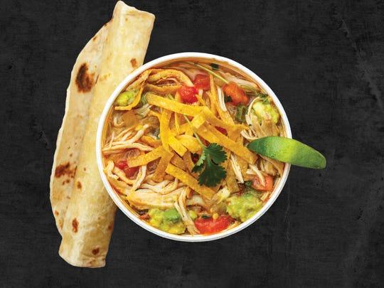 The Cafe Rio menu includes chicken tortilla soup.