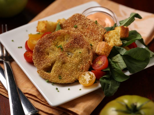 Fried tomato fall salad, styled by Mark Graham,