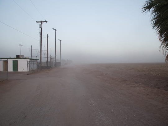 A dust storm blows through Westmorland on March 30, 2017.