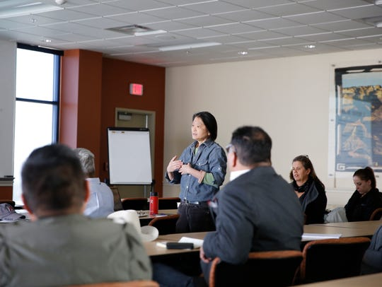 Josey Foo, co-founder of Indian Country Grassroots Support, was among the chapter officials, small business owners and residents who attended Tuesday's meeting at San Juan College in Farmington.