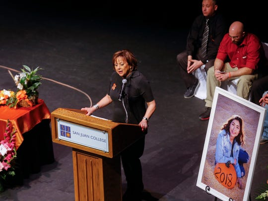 New Mexico Gov. Susana Martinez gives a eulogy for Casey Jordan Marquez on Sunday at the San Juan College Henderson Fine Arts Center Performance Hall in Farmington.