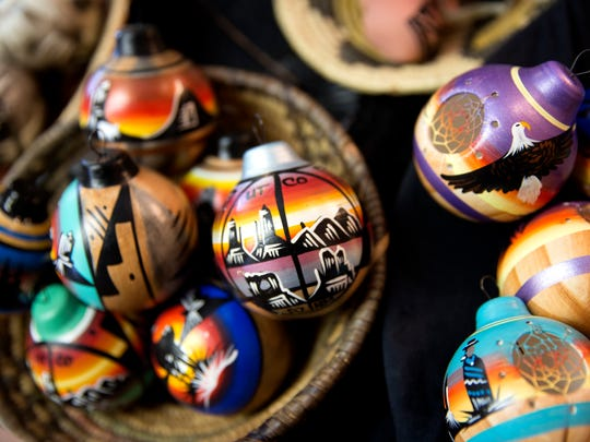 Christmas ornaments by Native Sisters are displayed Friday during the Shiprock Chapter Christmas Bazaar at the Shiprock Chapter House.