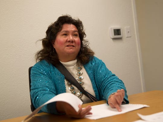 Carol Green talks about her braille system for the Navajo language, to her knowledge the only such system in existence, on Thursday in Farmington.