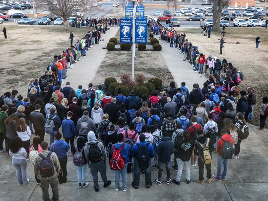 A prayer circle at Paducah Tilghman High School held a prayer circle on Wednesday morning at the school for students at Marshall County High School where two students were killed and 18 others were injured during a shooting on Tuesday morning.January 23, 2018
