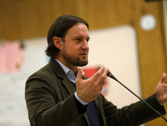 New Mexico Public Education Secretary-designate Christopher Ruszkowski speaks to school board members during a meeting on Tuesday at the Central Consolidated School District offices in Shiprock.