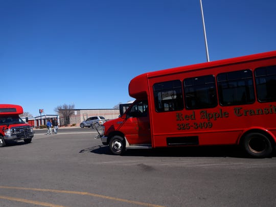 Red Apple Transit bus waits for passengers on Friday, March 3, 2018  at Orchard Plaza in Farmington.