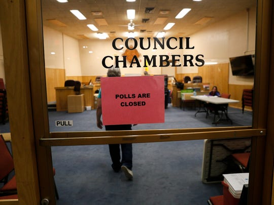 Polls close on Tuesday evening at the City Council chambers at Farmington City Hall.