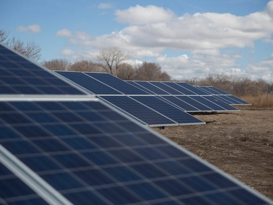 Solar panels are pictured on Monday, March 12, 2018