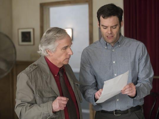 "Gene Cousineau (Henry Winkler, left) is an acting teacher who helps Barry Berkman (Bill Hader) find new purpose in HBO's ""Barry."""