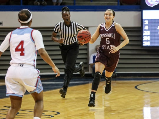 The Missouri State Lady Bears play the Louisiana Tech Lady Techsters in a WNIT game at the Thomas Assembly Center in Ruston, La., on Thursday, March 15, 2018.