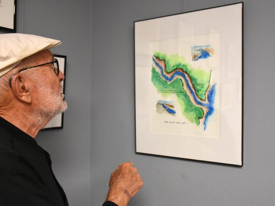 """This painting of the Rio Grande makes the point a border wall would cover the distance from here to Boston. Donald Sunshine's exhibit """"Art as Commentary"""" is on display at the Marco Island Center for the Arts through Mar. 27."""