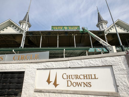 The sign above the grandstands was changed on Friday morning to reflect the 144th Running of the Kentucky Derby 2018.
