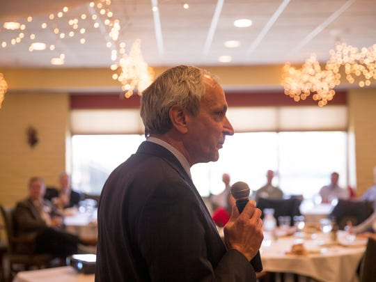 Ken McQueen, cabinet secretary of the New Mexico Energy, Minerals and Natural Resources Department, talks about the rebounding oil industry during a presentation on Friday, April  13, 2018 at the San Juan Country Club in Farmington.