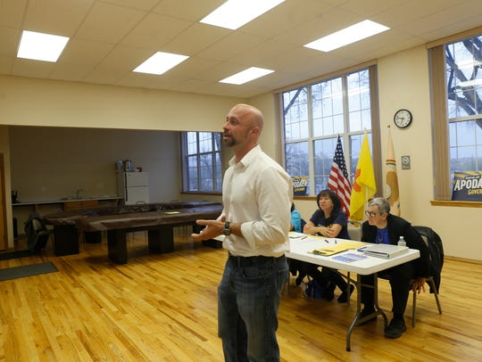New Mexico State Auditor candidate Bill McCamley speaks during a San Juan County Democratic Party meeting on Thursday at the Little Red School House in LaPlata.