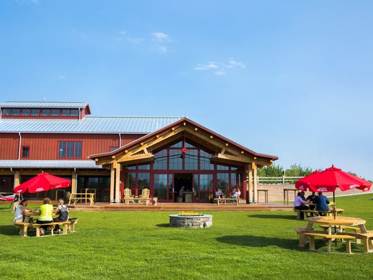 The exterior of Angry Orchard's Cider House and tasting