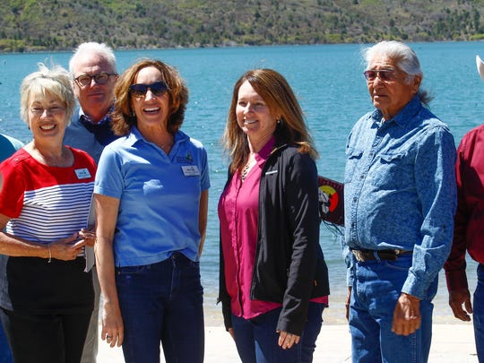 From left, Durango Mayor Sweetie Marbury, Durango City Councilor Melissa Yousesef, Bureau of Reclamation Commissioner Brenda Burman and Alden Naranjo with the Southern Ute Tribe attend a dedication ceremony on Monday at Lake Nighthorse in Durango, Colorado.