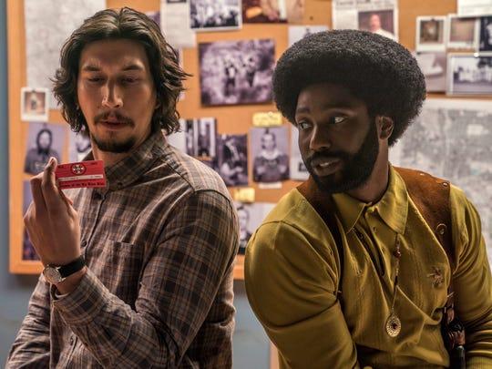 "Adam Driver stars as Flip Zimmerman and John David Washington as Ron Stallworth in Spike Lee's ""BlacKkKlansman."""