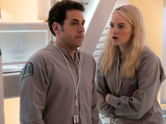 "Jonah Hill and Emma Stone in a scene from the upcoming Netflix series, ""Maniac."""