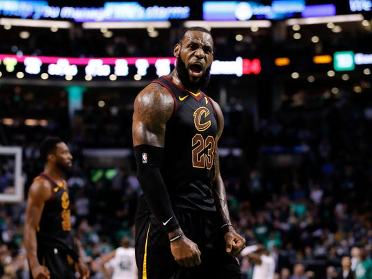 May 27: LeBron James celebrates after drawing a foul