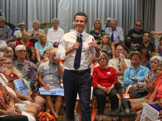 Lt. Governor Gavin Newsome speaks to supporters at the Mizell Senior Center in Palm Springs, May 31, 2018.