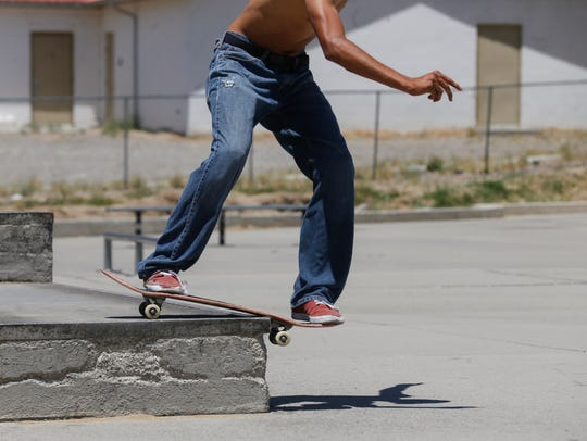 Brandon Begay skates Tuesday at the Brookside Skate Park in Farmington.