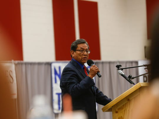 Navajo Nation President Russell Begaye speaks Monday during a Navajo Nation presidential candidates forum at Navajo Technical University in Crownpoint.