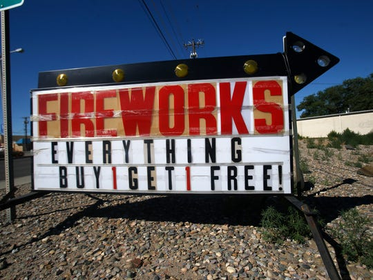 A sign for fireworks is pictured, Wednesday, June 20,