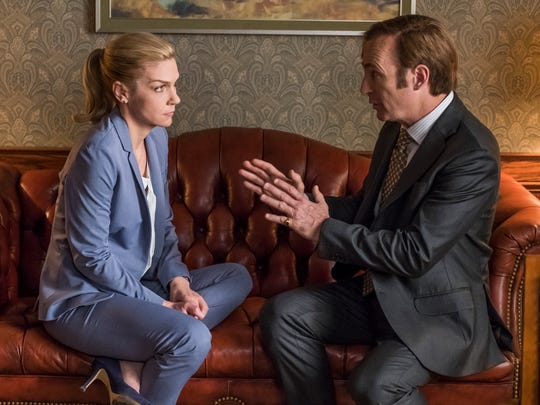 "AMC's ""Better Call Saul,"" starring Bob Odenkirk and Rhea Seehorn, was the most time-shifted TV show of 2018, ranked by the percentage change from live to 7-day viewing, Nielsen says."