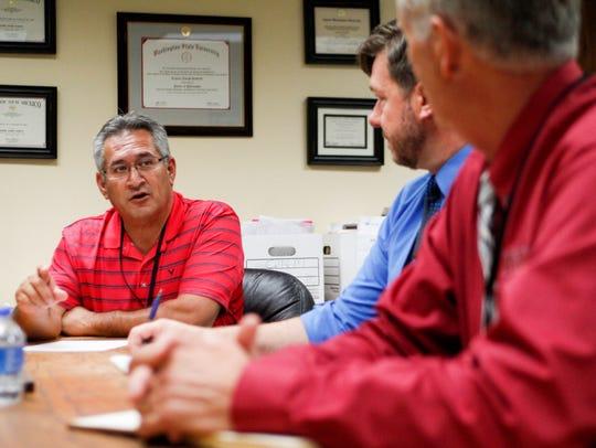 Phil Valdez, deputy superintendent for the Farmington Municipal School District, discusses the district's state testing scores Thursday at district headquarters.