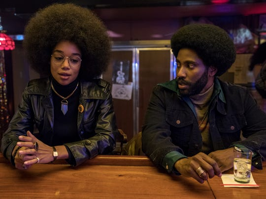 "Laura Harrier and John David Washington star in ""BlacKkKlansman."""