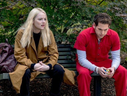 Annie (Emma Stone) and Owen (Jonah Hill) in this exclusive