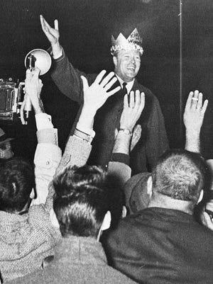 Phil Hoff is crowned King of Winooski in 1962 when he celebrated his victory in the gubernatorial race.