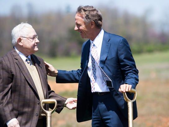 At center Gov. Bill Haslam speaks with Jack Fishman,