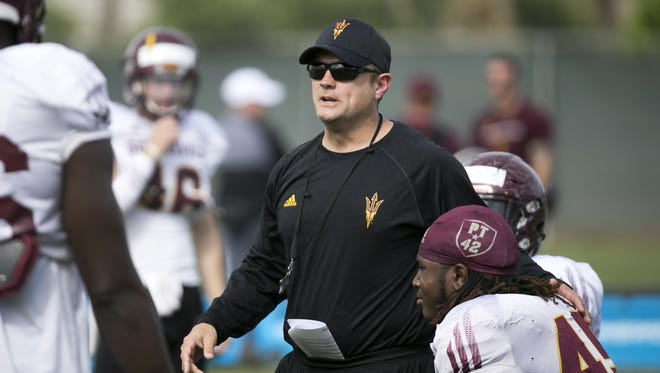 ASU defensive coordinator Danny Gonzales during an ASU football spring practice at the Kajikawa practice fields in Tempe on Thursday, March 22, 2018.