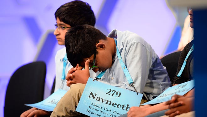 Navneeth Murali, 12, from Edison, N.J. waits for his turn during the 2018 Scripps National Spelling Bee at the Gaylord National Resort and Convention Center.