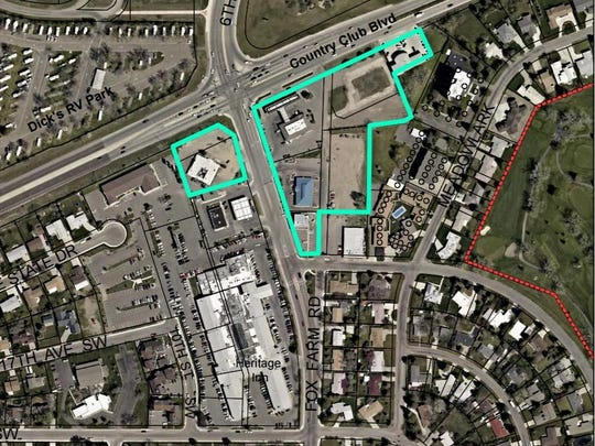The outlined area just south of the intersection of Fox Farm Road and Country Club Boulevard has been proposed for a zoning change that would allow more intensive commercial development