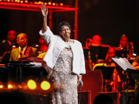 Aretha Franklin attends the Elton John AIDS Foundation's 25th Anniversary Gala at The Cathedral of St. John the Divine on Tuesday, Nov. 7, 2017, in New York. (Photo by Andy Kropa/Invision/AP)