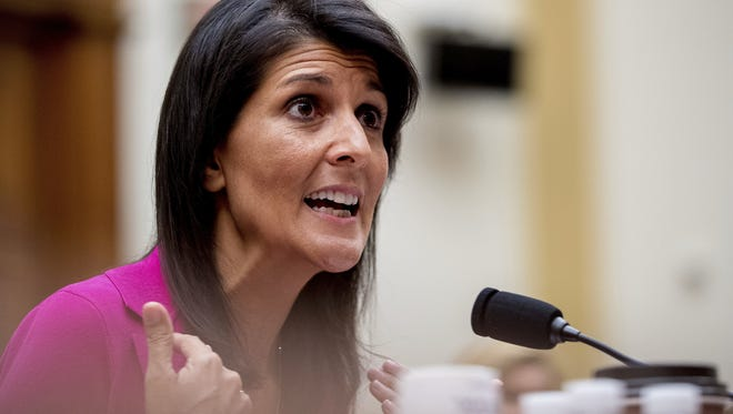 Nikki  Haley U.S. Ambassador to the UN Nikki Haley testifies on Capitol Hill in Washington, Wednesday, June 28, 2017, before the House Foreign Affairs Committee hearing: 'Advancing U.S. Interests at the United Nations'. (AP Photo/Andrew Harnik)