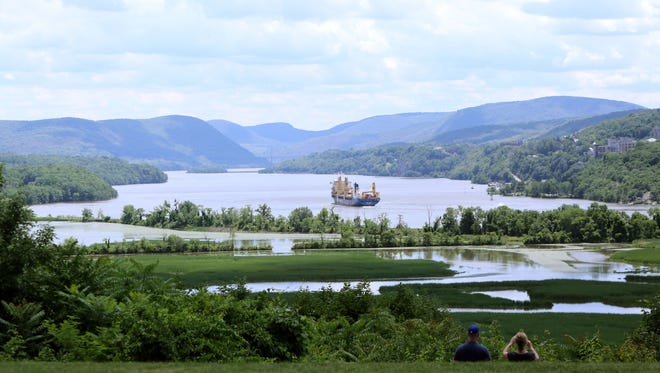 Views of the Hudson River, the Hudson Highlands, Constitution Marsh and the West Point Military Academy are seen from the front lawn at Boscobel House and Gardens June 26, 2017.