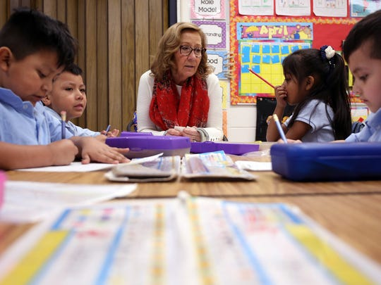 Diane Oxley teaches her kindergarteners about spelling at The Ocean Academy Charter School in Lakewood. The school just opened in September. They teach about 160 kids in K-2nd grade. Lakewood, New Jersey. Monday, April 16, 2018.