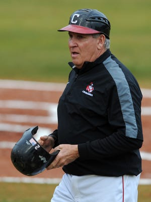 William Carey head coach Bobby Halford makes his way across the field as they take on Spring Hill College.