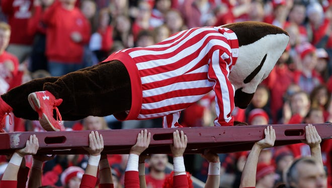 Bucky Badger does push ups after a Wisconsin touchdown.