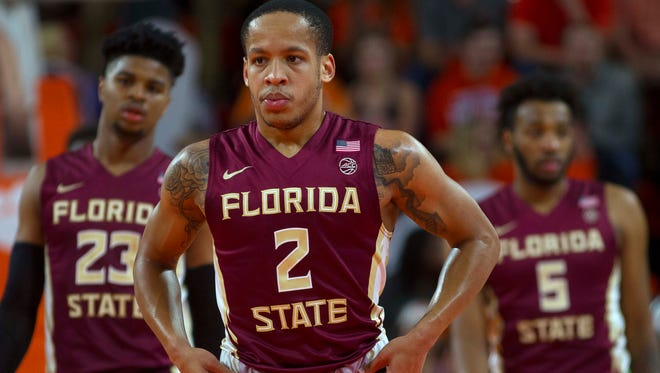 Florida State Seminoles guard CJ Walker (2) reacts after a play during the first half against the Clemson Tigers at Littlejohn Coliseum. Mandatory Credit: Joshua S. Kelly-USA TODAY Sports