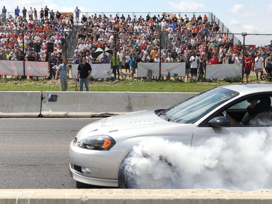 Amateur drag racers competed on a closed section of