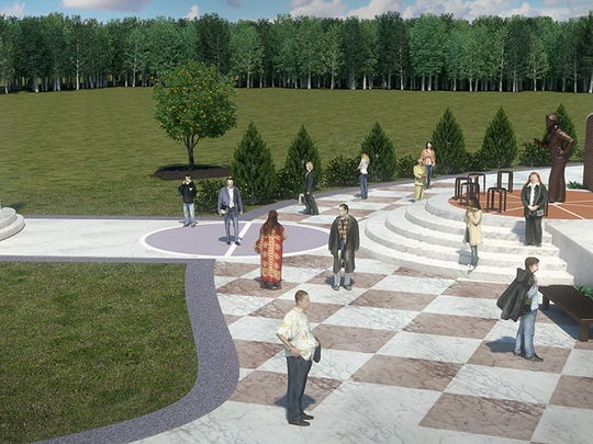 A broad-view rendering of the proposed Pat Head Summitt Legacy Park in Clarksville, based on selected sculptor Brett Grill's design and a mock-up from architect and steering committee member Brad Martin.